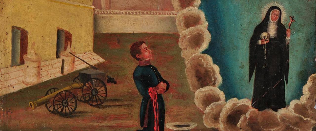Retablo a Santa Rita de Casia | Testimonios de fe: Colección de Exvotos del Museo Amparo | Museo Amparo, Puebla