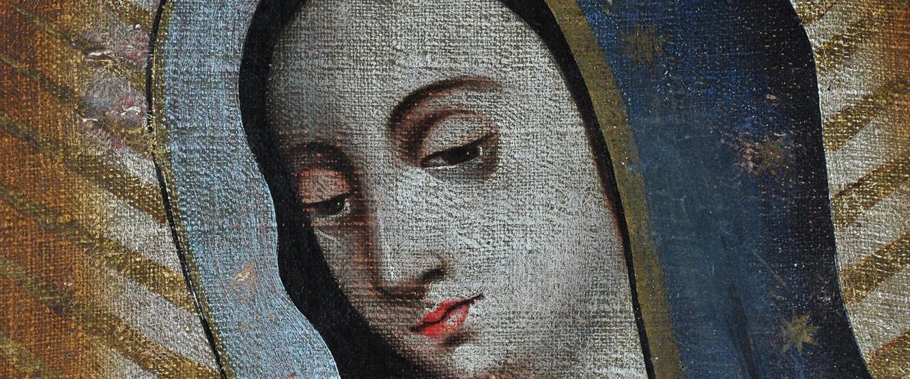 Virgen de Guadalupe con donantes indígenas | Testimonios de fe: Colección de Exvotos del Museo Amparo | Museo Amparo, Puebla