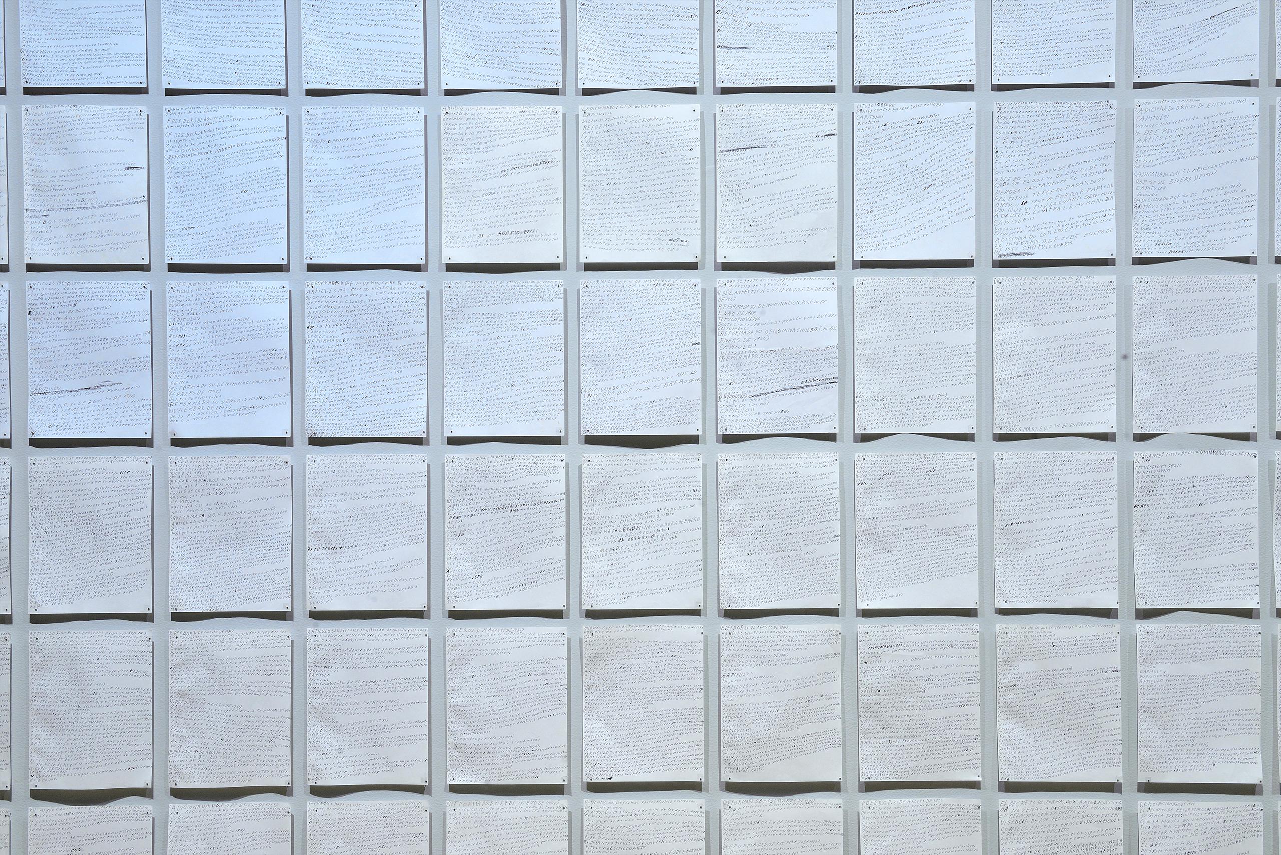 Transcripción a mano del Código Penal del Distrito Federal del año 1967 | Tercerunquinto. Obra inconclusa | Museo Amparo, Puebla