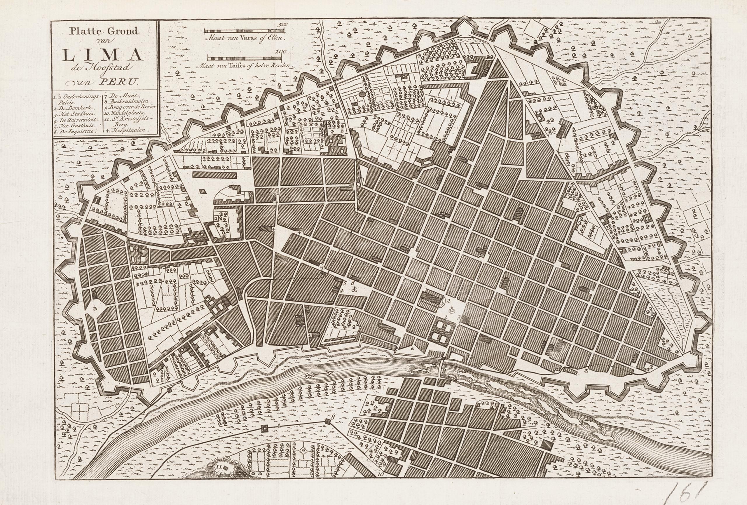 Plano de Lima, capital del Perú | La metrópolis en América Latina, 1830-1930 | Museo Amparo, Puebla