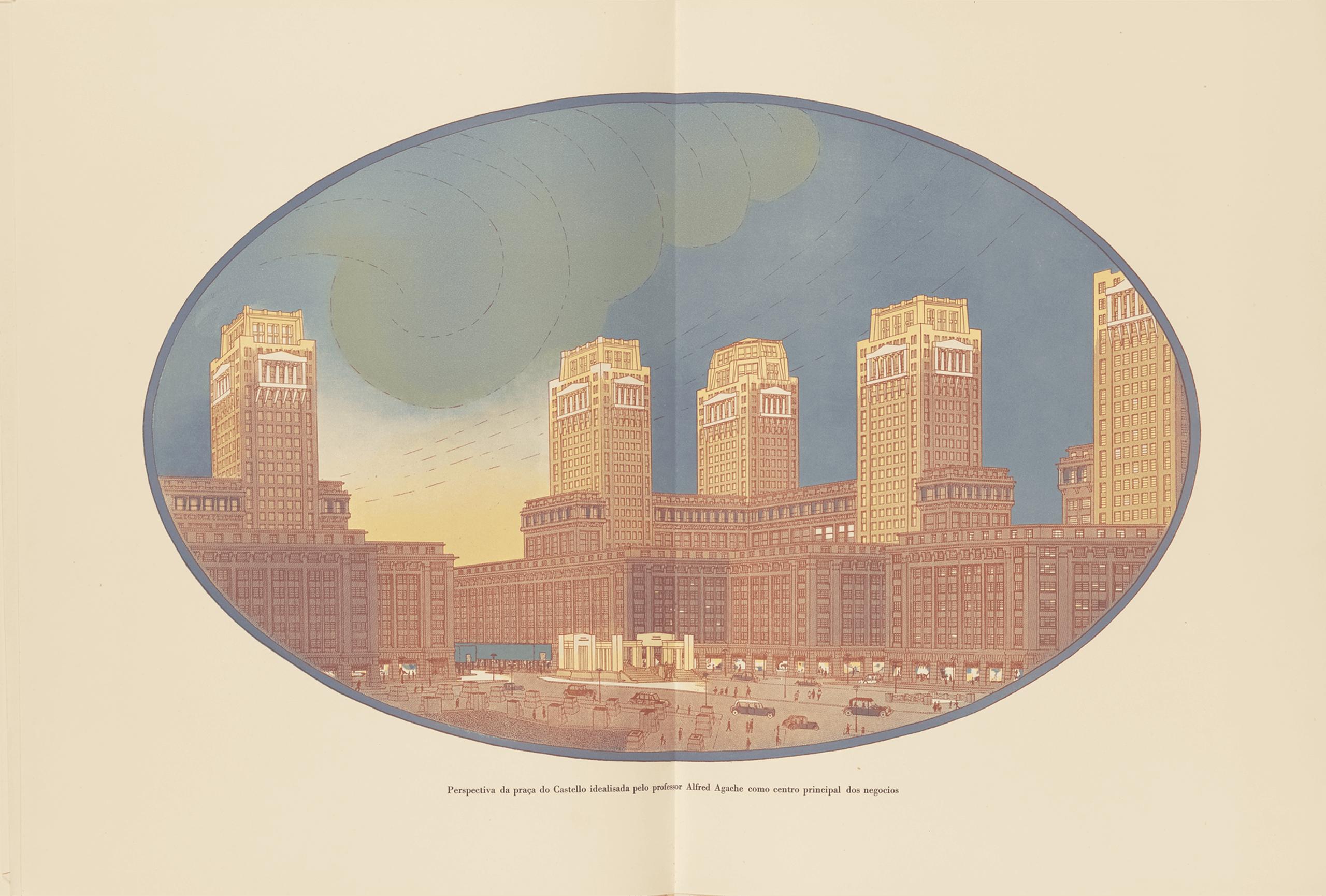 Perspectiva de la plaza do Castello diseñada por el profesor Alfred Agache como Centro Principal de Negocios   La metrópolis en América Latina, 1830-1930   Museo Amparo, Puebla