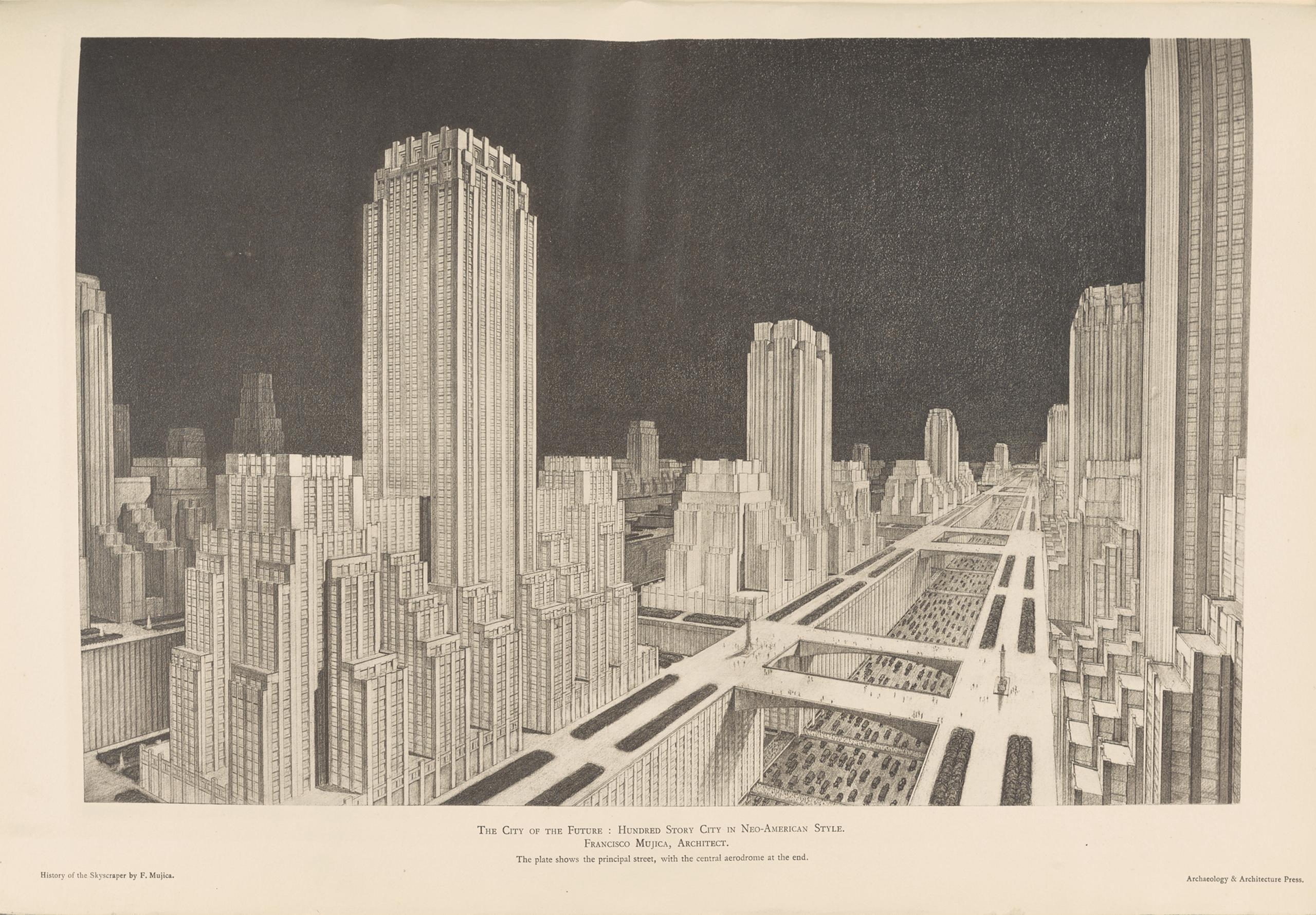 La Ciudad del Futuro: Ciudad de cien pisos en estilo Neoamericano | La metrópolis en América Latina, 1830-1930 | Museo Amparo, Puebla