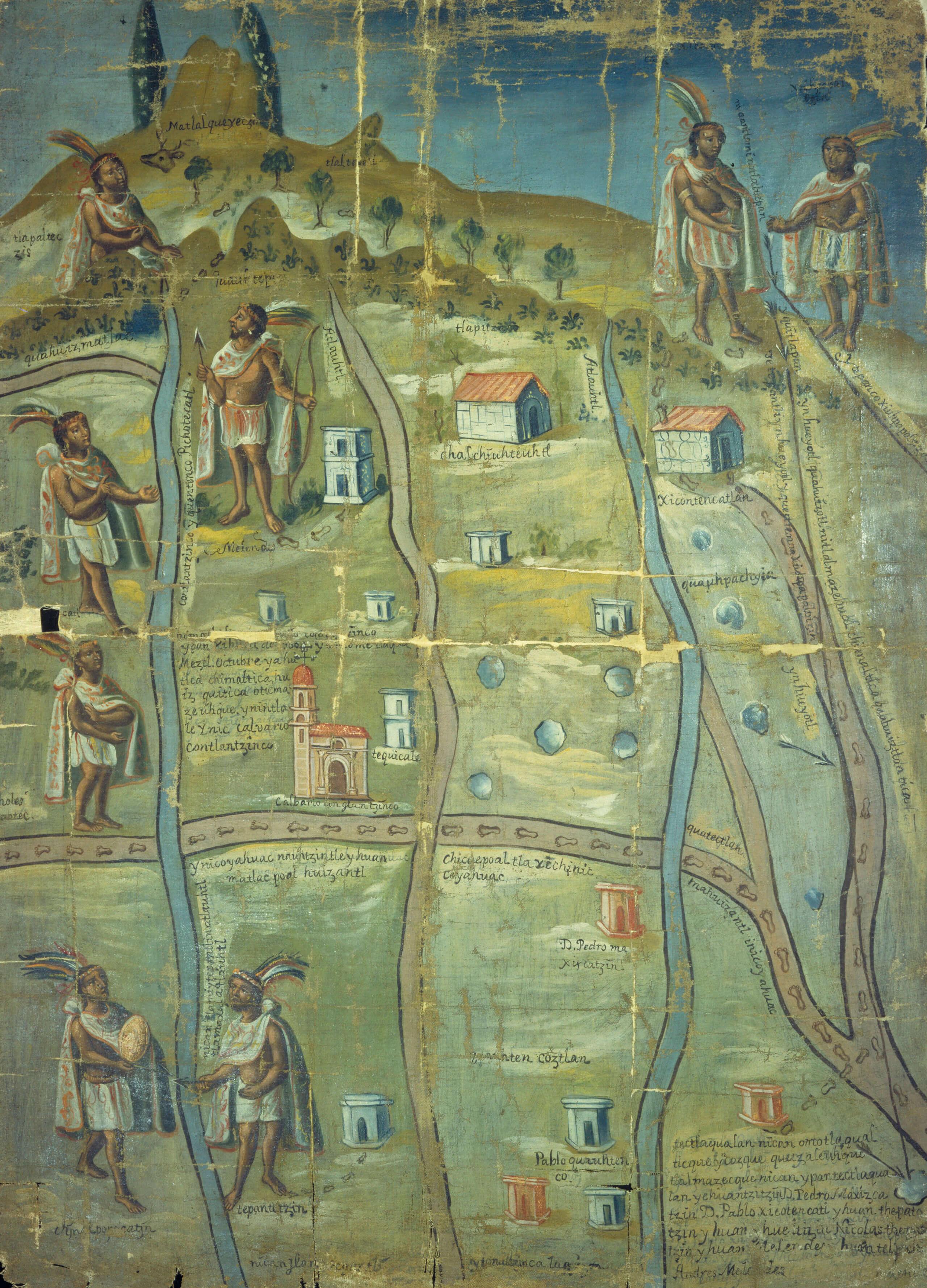 Pintura de Contlantzinco, linderos del pueblo | In Tlilli in Tlapalli. Imágenes de la nueva tierra: identidad indígena después de la conquista | Museo Amparo, Puebla