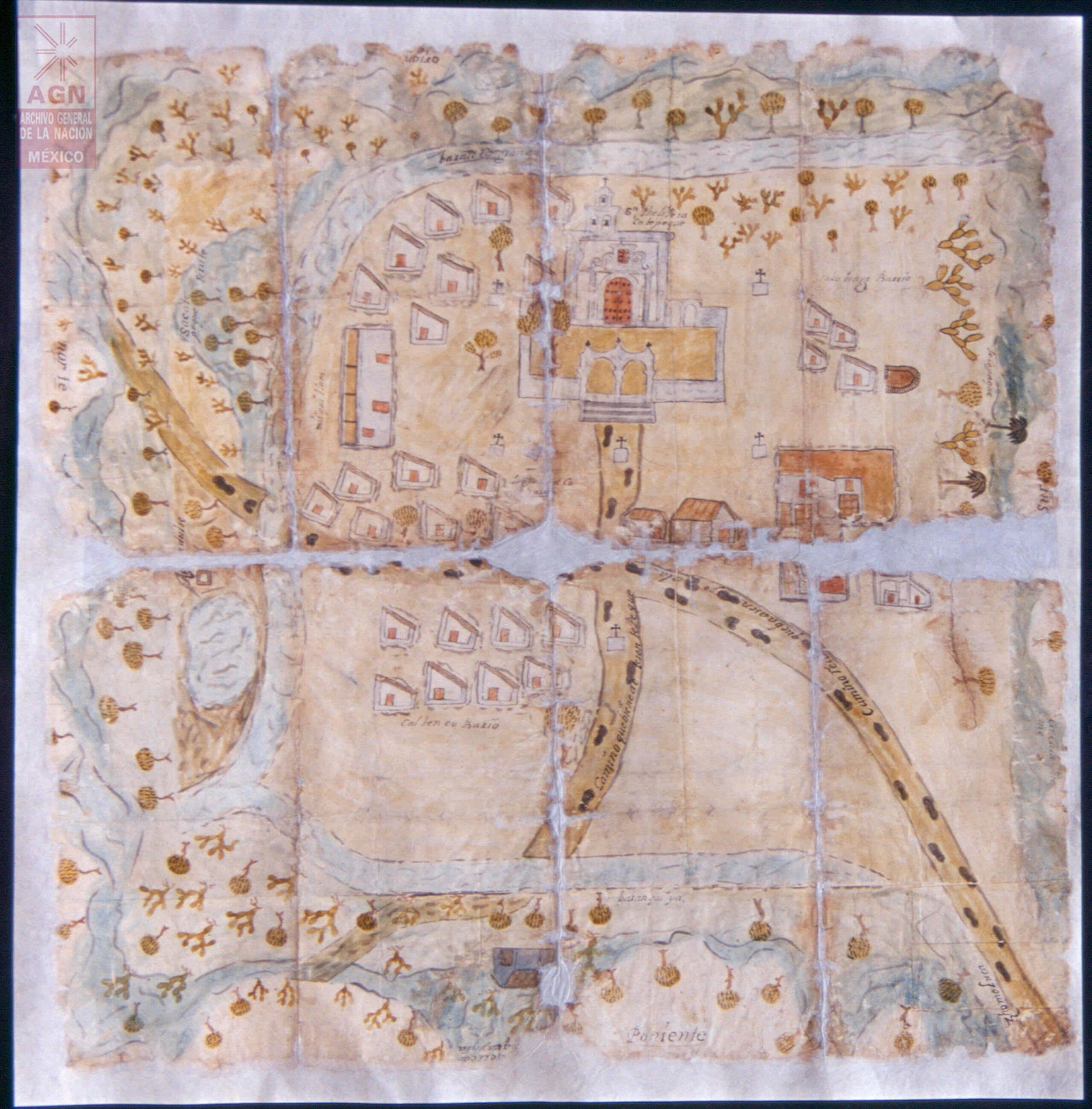 Mapa de San Felipe Sacatepeque, Axapusco, Estado de México | In Tlilli in Tlapalli. Imágenes de la nueva tierra: identidad indígena después de la conquista | Museo Amparo, Puebla
