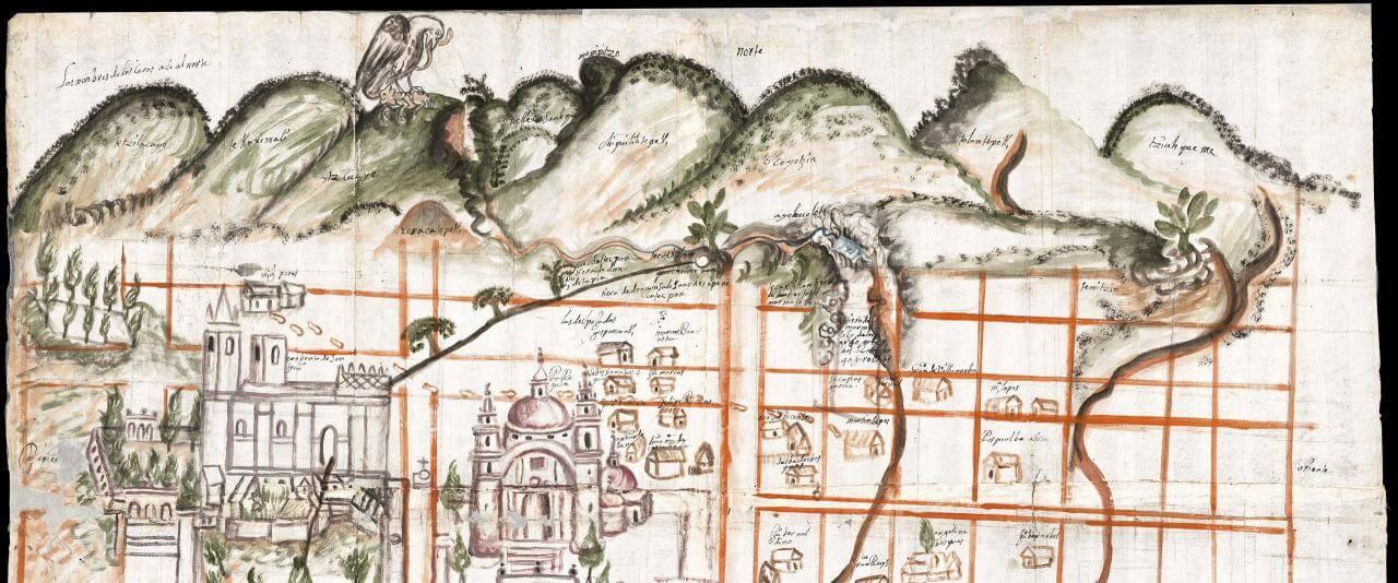 Mapa de San Juan Cuauhtinchan, Puebla | In Tlilli in Tlapalli. Imágenes de la nueva tierra: identidad indígena después de la conquista | Museo Amparo, Puebla