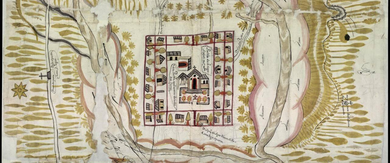 Mapa de Santiago Atapan, Tingüindín, Michoacán   In Tlilli in Tlapalli. Imágenes de la nueva tierra: identidad indígena después de la conquista   Museo Amparo, Puebla
