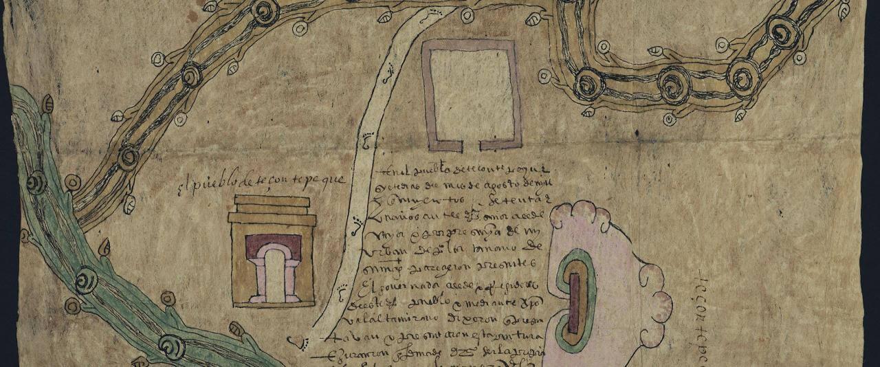 Mapa de Tezontepec, Hidalgo | In Tlilli in Tlapalli. Imágenes de la nueva tierra: identidad indígena después de la conquista | Museo Amparo, Puebla
