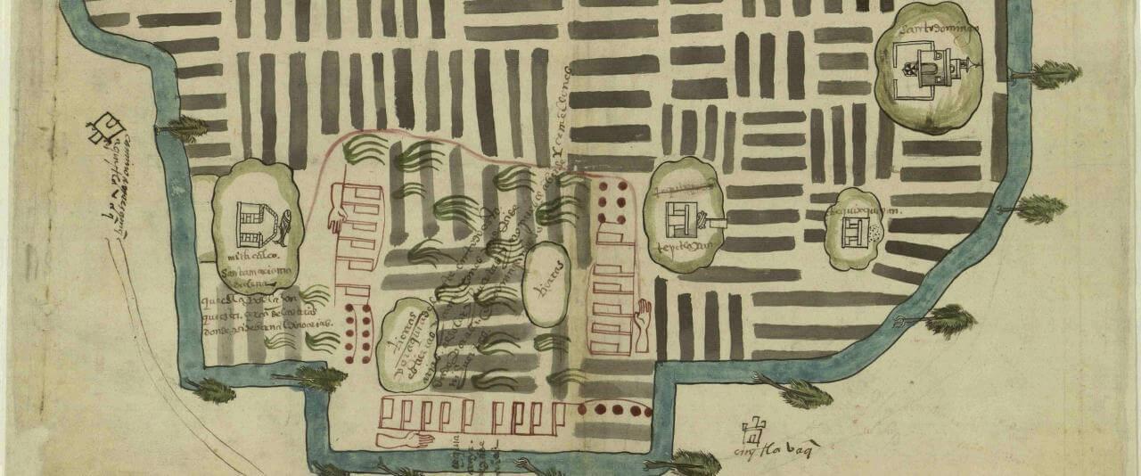 Mapa de Cuitlahuaca (Tláhuac), Chalco, Estado de México | In Tlilli in Tlapalli. Imágenes de la nueva tierra: identidad indígena después de la conquista | Museo Amparo, Puebla