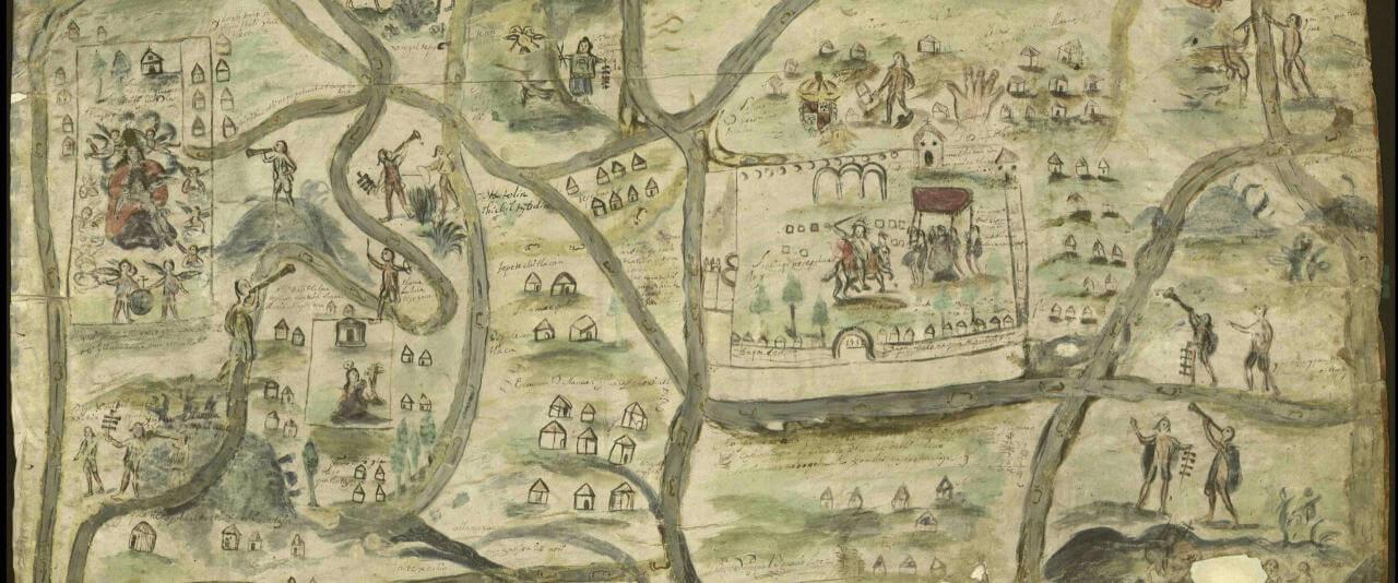 Mapa de Santiago Quanepopohualco Xomolco Nesepohualoya | In Tlilli in Tlapalli. Imágenes de la nueva tierra: identidad indígena después de la conquista | Museo Amparo, Puebla