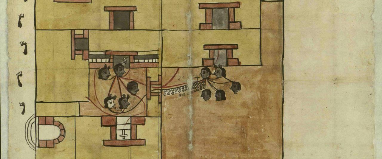 Plano de una casa en Xochimilco, Ciudad de México | In Tlilli in Tlapalli. Imágenes de la nueva tierra: identidad indígena después de la conquista | Museo Amparo, Puebla