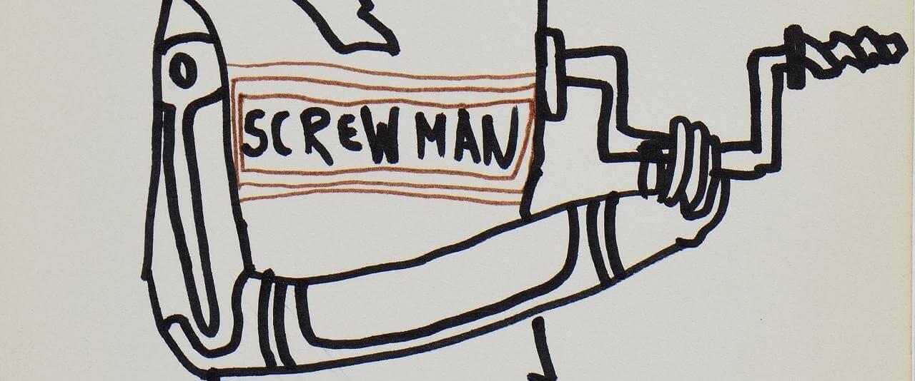 Cut it Now, Screw Man, One, Two, Turn Left (Córtalo ahora, Hombre tornillo, Uno, dos, Vira a la izquierda) | Marcos Kurtycz. Contra el estado de guerra, un arte de acción total | Museo Amparo, Puebla