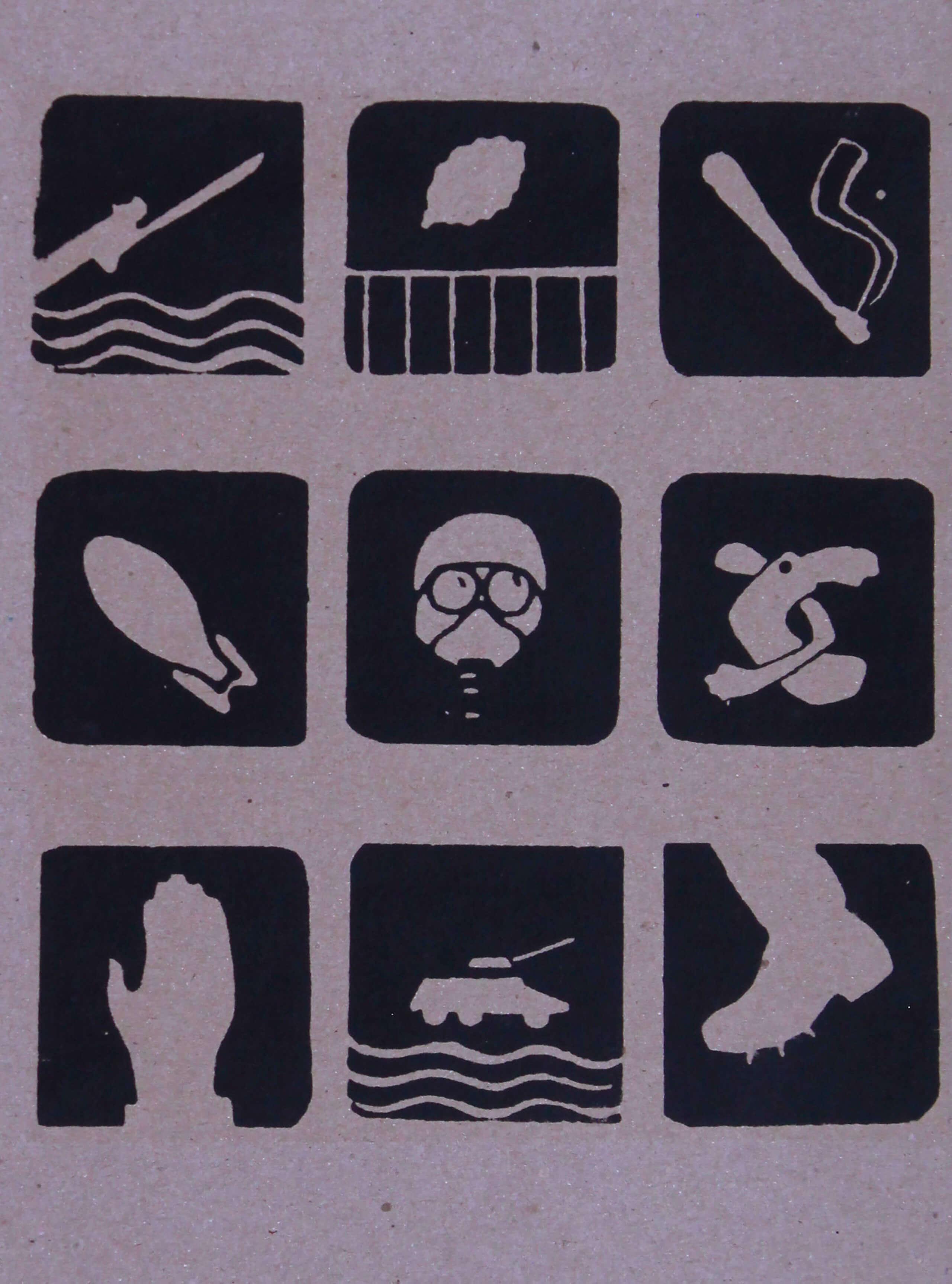 Sin título, 9 íconos | La demanda inasumible. Imaginación social y autogestión gráfica en México, 1968-2018 | Museo Amparo, Puebla