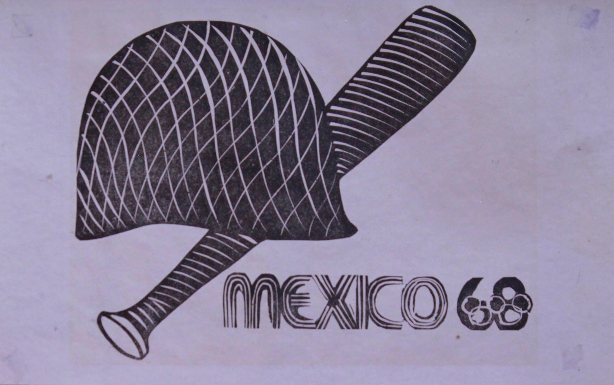 México 68 (casco y macana) | La demanda inasumible. Imaginación social y autogestión gráfica en México, 1968-2018 | Museo Amparo, Puebla