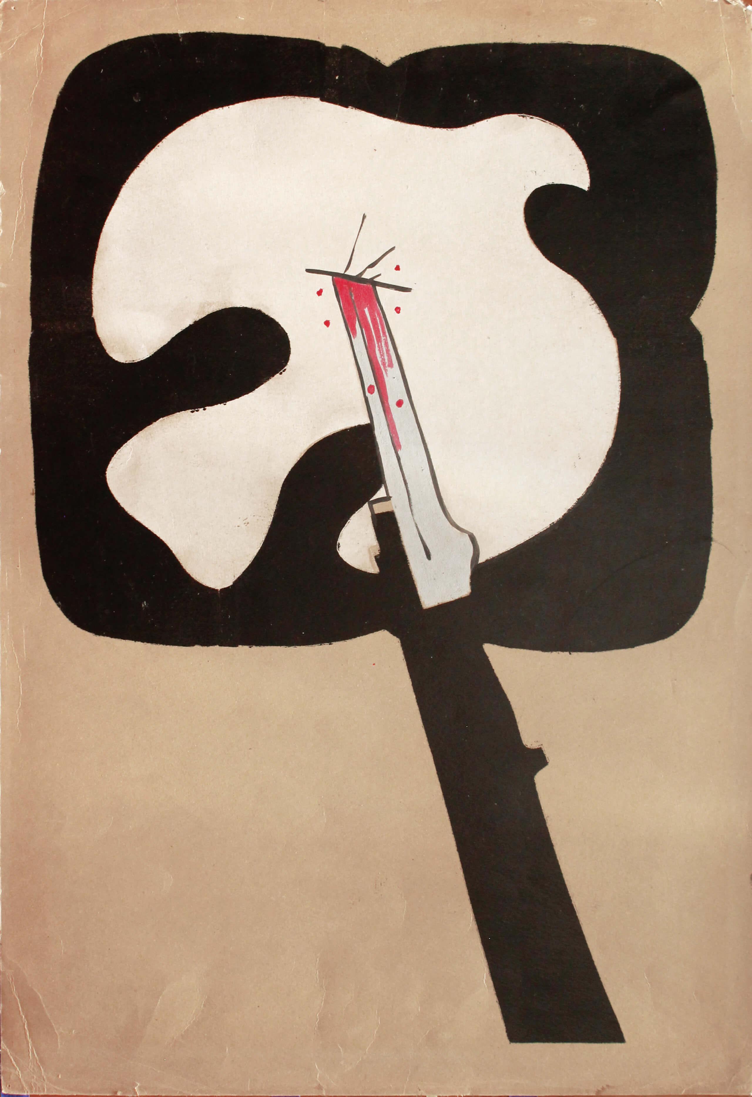 Sin título, paloma atravesada | La demanda inasumible. Imaginación social y autogestión gráfica en México, 1968-2018 | Museo Amparo, Puebla