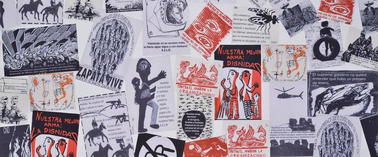 Collage de calcomanías zapatistas | La demanda inasumible. Imaginación social y autogestión gráfica en México, 1968-2018 | Museo Amparo, Puebla
