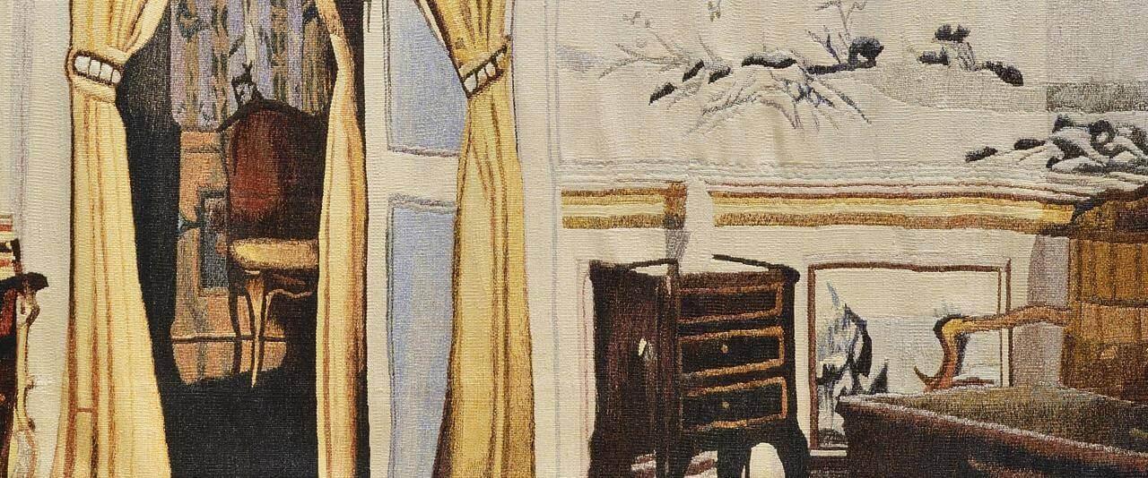 Interior con tapiz chinesco | Nacido en casa. Devenires y porvenires del oficio de la tapicería Alto Liso en Jalisco, 1968-2018 | Museo Amparo, Puebla