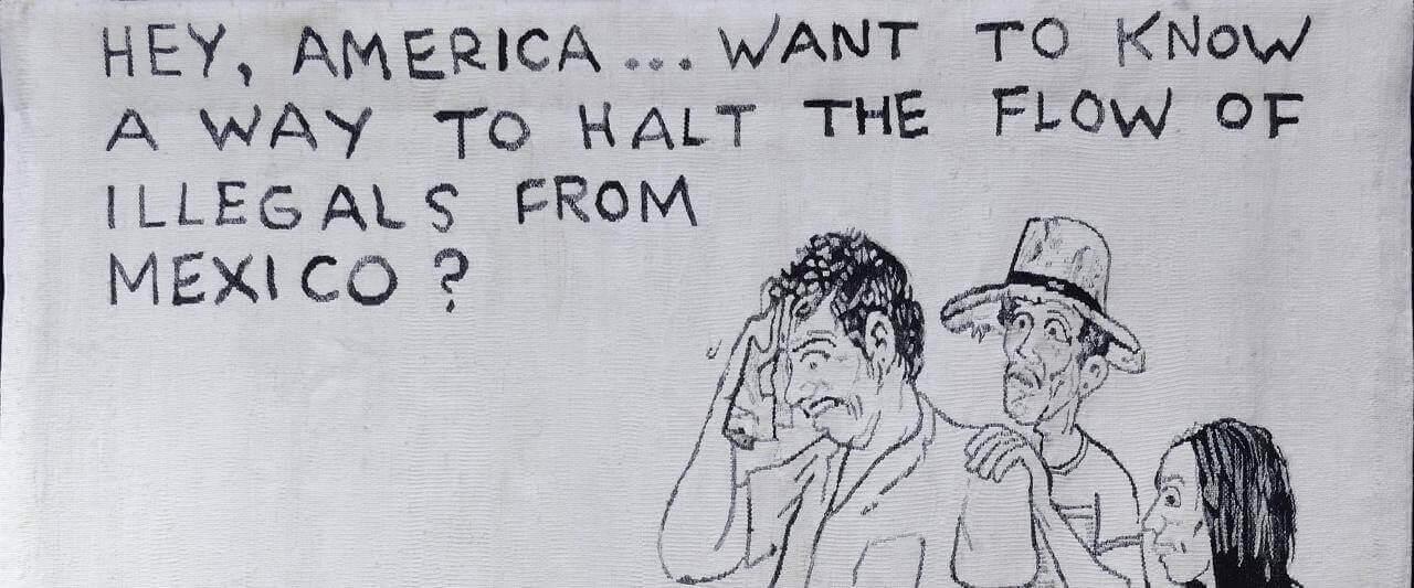 Hey America... | Nacido en casa. Devenires y porvenires del oficio de la tapicería Alto Liso en Jalisco, 1968-2018 | Museo Amparo, Puebla